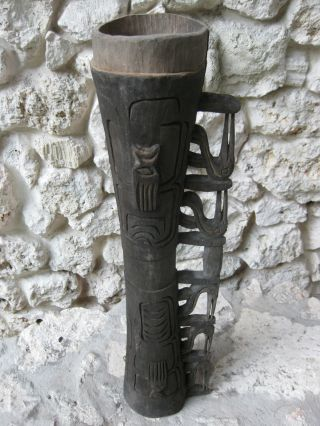 Asmat Ceremonial Drum,  Irian Jaya,  New Guinea Artifact - Sepy Dobronyi Estate - L744 photo