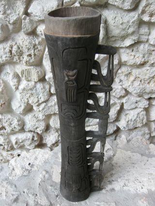 Asmat Ceremonial Drum,  Irian Jaya,  New Guinea Artifact - Sepy Dobronyi Estate - L744 photo
