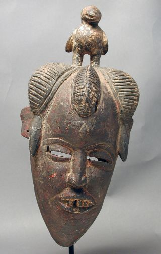 African Ancestor Face W Bird Ceremonial Guru Wood Mask Cote I ' Voire Ethnix photo