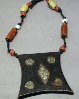Jewelry African Tuareg Leather Metal Amulet Protection Talisman Necklace Ethnix photo