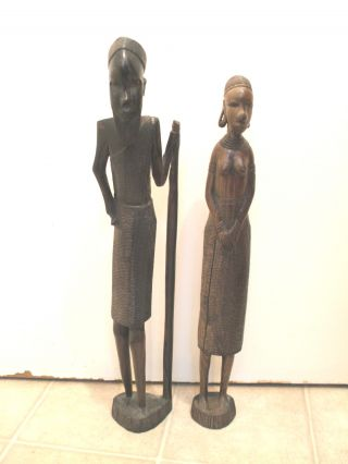 Carved Ebony African Tribal Man And Woman Carved Figures 18