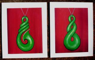 Hei Matau & Twist Maori Kiwiana Nz Pasifika - 2 Prints Of My Paintings photo