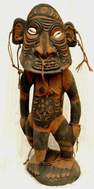 Large Old Tribal Mindimbit Wood Ancestor Figure Sepik River New Guinea photo