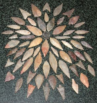 62 African Neolithic Stone Projectile Arrowhead Points photo