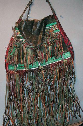 Purse African Leather Wearable Bag Colorful Wall Decoration Tuareg Fringe Ethnix photo