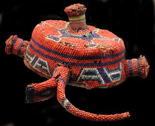 Hat African Pende Crown Glass Beads Red White Blue Raffia Zaire Drcongo Ethnix photo