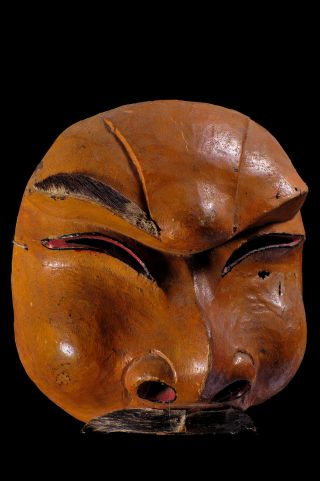 Ancient Topeng Dance Hand Carved Wood Half Mask From Bali,  Indonesia photo