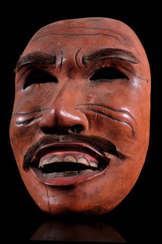 Ancient Topeng Dance Hand Carved Wood Mask W/ Human Hair From Lombok,  Indonesia photo