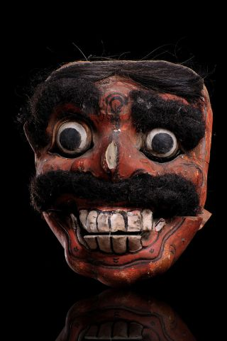 Ancient Topeng Dance Hand Carved Wood Mask W/ Human Hair Fr.  East Java Indonesia photo
