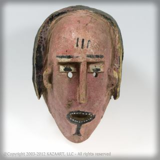 Masqueraded Tribally Worn Bozo Wood Polychrome Mask Of A Female Mali photo