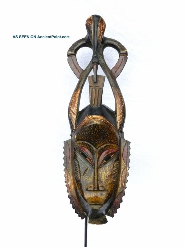 ☆☆☆☆☆ African Guro Tribe Mask With Horns & Peace Bird - Www.  Wildbushgallery.  Com Other photo