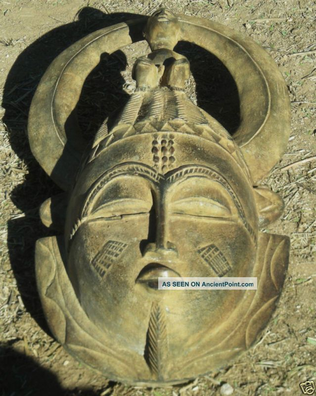 Magnificent Museum Quality Baule Face Mask With Figure Sculptures & Statues photo
