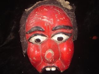 Fine Old Theatre Mask Red Face Jawa Masque Indonesia Tribal photo