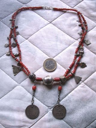 Traditional North African Berber Antique Coral And Silver Necklace,  Tunesia photo