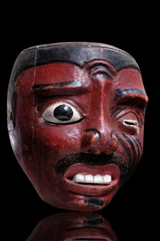 Ancient Topeng Dance Hand Carved Wood Mask From Lombok Indonesia,  Artful Carving photo