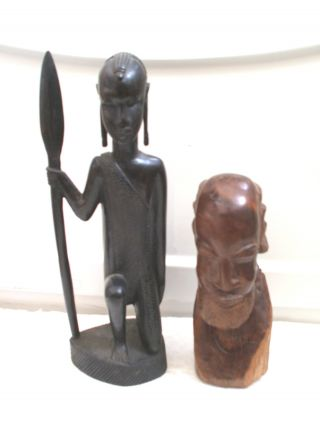 Carved Wooden Ebony Female Figure In Tribal Dress 13