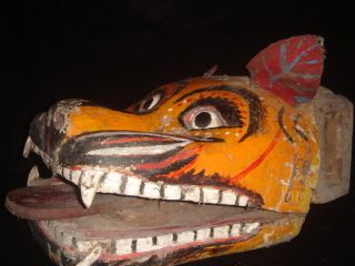 Mask Barong Shaman Tribal Dance Jawa Relic Pivoting Eyes Dragon photo