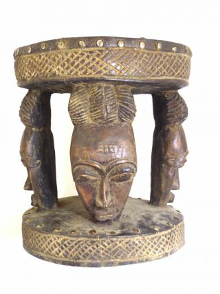 ☆☆☆☆☆ African Baule Tribe Stool With Three Masks - Www.  Wildbushgallery.  Com photo