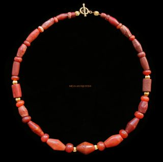 Ancient African Necklace Red Carnelian Agate Jasper 1000ad Sahara Jewellery A54j photo