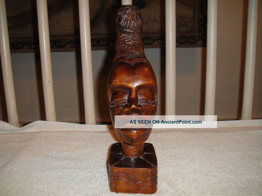 Wood Carving Of African Woman Head With Hair Up - Engraved By Artist Manol - A Must Sculptures & Statues photo