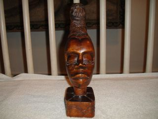 Wood Carving Of African Woman Head With Hair Up - Engraved By Artist Manol - A Must photo