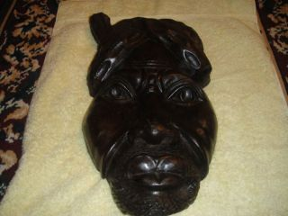 African Tribal Wooden Face Plaque - Rasta - Large Detailed photo
