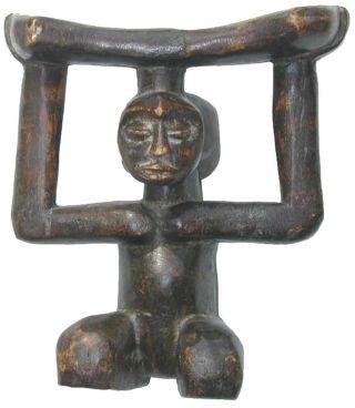19thc Luba Tribe.  African Headrest photo