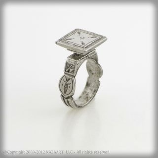Old Tuareg Touareg Silver Tabloid Ring With Design Mali photo