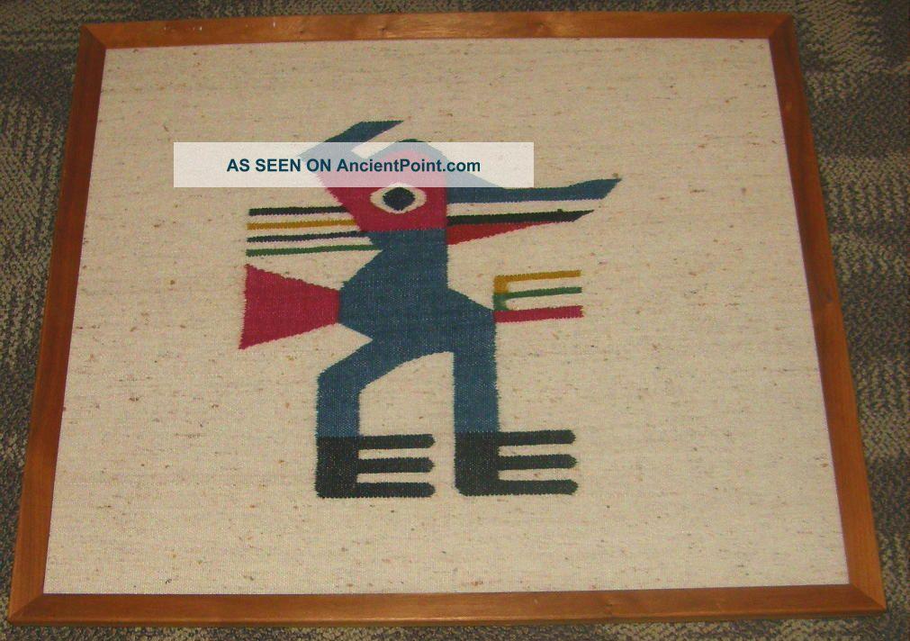 Framed Handwoven Pueblo Native American Woolen Weaving Kachina Duck Figure Native American photo