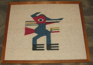 Framed Handwoven Pueblo Native American Woolen Weaving Kachina Duck Figure photo