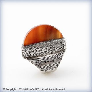 Tuareg Silver And Carnelian Ring With Design Mali photo