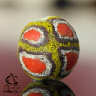 Rare Antique Powder Glass Kiffa Bead Mauritania Africa Over 100 Years Old 13.  9mm photo