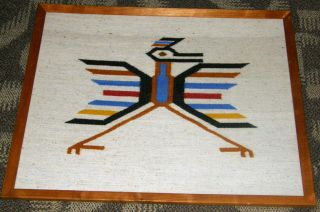 Southwestern Pueblol Native American Handwoven Woolen Hanging Roadrunner Image photo