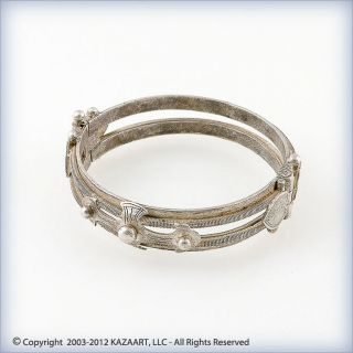 Old And Rare Fancy Tuareg Silver Bracelet Bangle Bracelet Mali photo