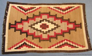 Antique Early Large Native American Indian Navajo Rug Circa 1910 photo