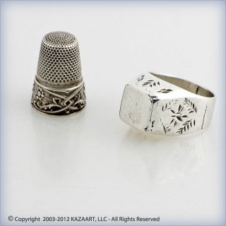 Old Tuareg Silver Ring With Etched Design Mali photo