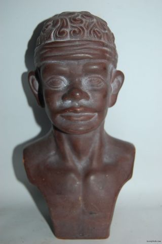 A Vintage Terracotta Pottery African Man Negro Bust photo