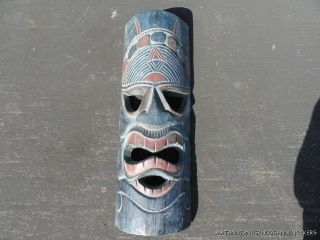 A Large Carved Wooden African Wall Mask Face Head Tribal Mask photo