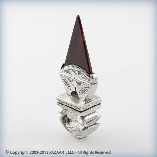 Old Tuareg Silver And Carnelian Tisek Amulet Talisman Ring Mali photo