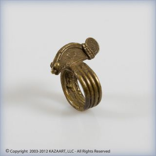 Old Dian Lobi Brass Fetish Amulet Ring Of A Chameleon Burkina Faso photo