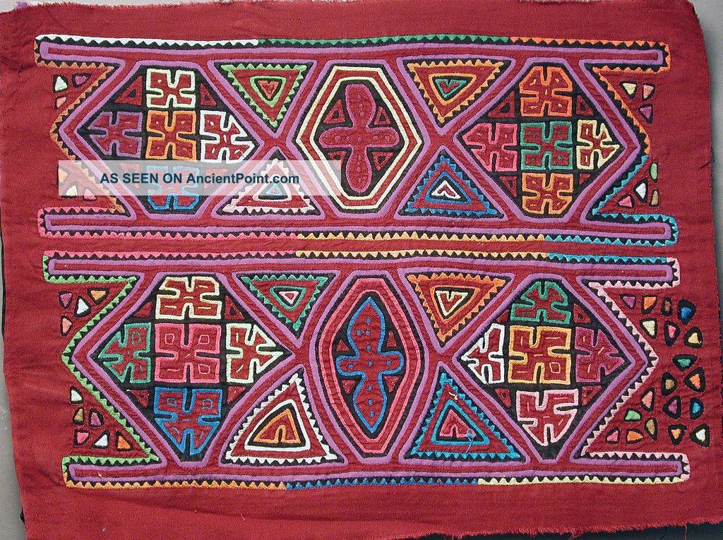 Kuna Women Blouses Handmade Mola Matching Pair Two Geometric Molas Panama Ethnix Latin American photo