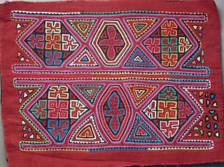 Kuna Women Blouses Handmade Mola Matching Pair Two Geometric Molas Panama Ethnix photo