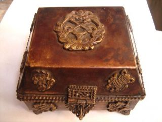 Tibetan Ethnic Solid Brass Copper Religious Use Box 32238 photo