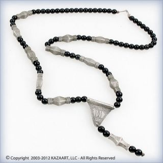 Old Tuareg Silver And Glass Beads Takassa Amulet Talisman Necklace Niger Mali photo