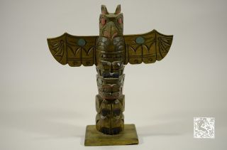 Northwest Native Carved And Painted Totem Signed Dan Campbell photo