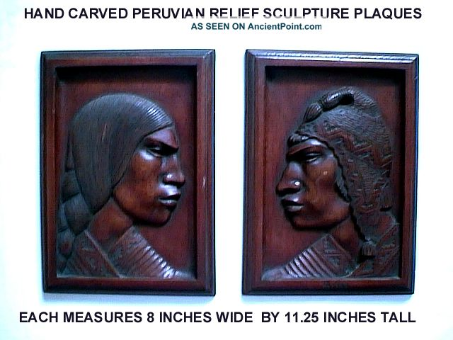 2 Peruvian Man & Woman Machu Picchu Hand Carved Mahogany Relief Sculpure Plaques Latin American photo