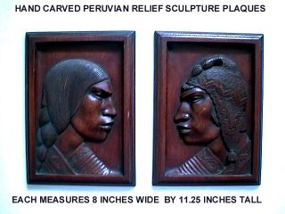 2 Peruvian Man & Woman Machu Picchu Hand Carved Mahogany Relief Sculpure Plaques photo
