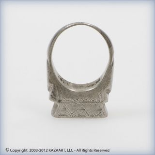 Old Tuareg Silver Talisman Amulet Ring With Design Mali photo