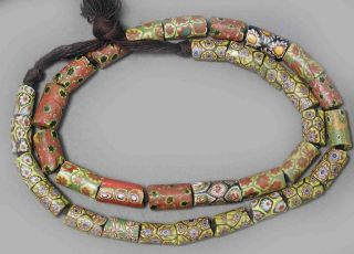 African Jewelry Trade Beads Necklace Venetian Millefiori Glass Jewelry Ethnix photo