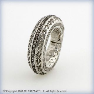 Old Fulani Peul Traditional Silver Ring Pendant With Designs Mali photo